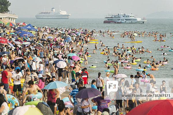 Küste beschäftigt Boot China Fujian Meerenge Taiwan Xiamen