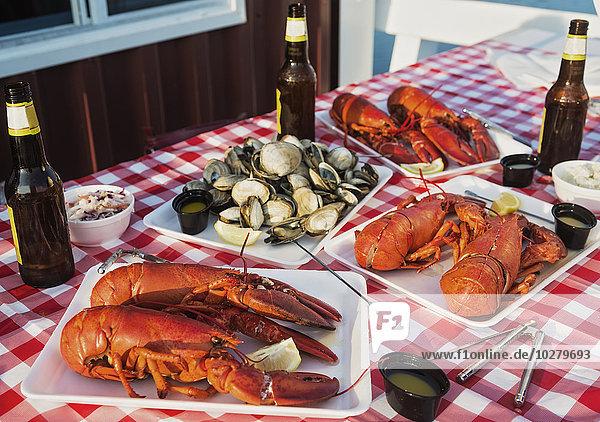 Gericht Mahlzeit Ansicht Hummer Tisch