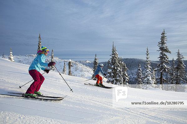 Skisport Ansicht Seitenansicht