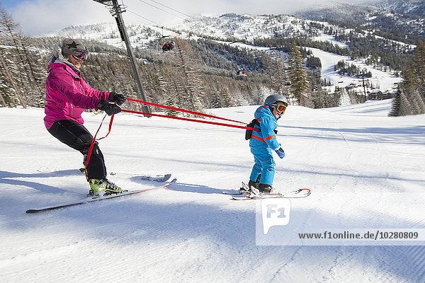 unterrichten Sohn Ski Mutter - Mensch