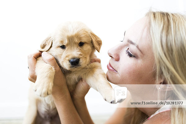 Portrait Inhaber Golden Retriever Welpe