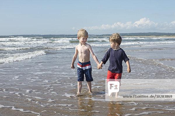 Boys walking on beach