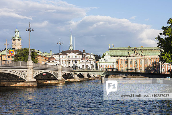 Railway bridge with church in the background  Storkyrkan  Gamla Stan  Stockholm  Sweden