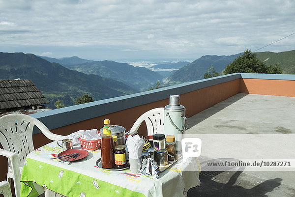 Breakfast table on the roof of a lodge  Nepal