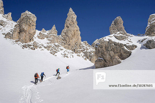 Ski mountaineers climbing on snowy peak  Val Gardena  Trentino-Alto Adige  Italy