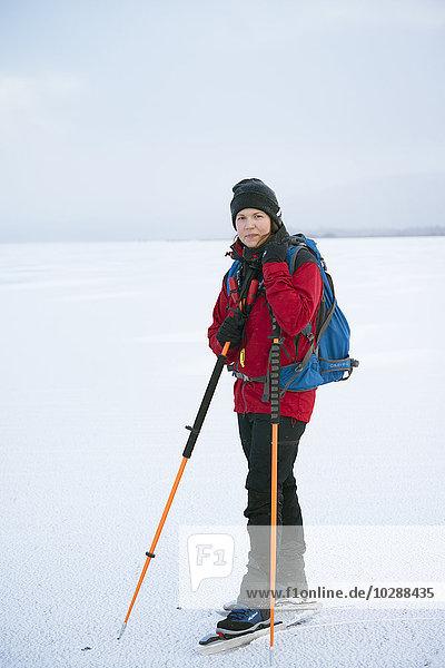 Schweden  Jamtland  Are  Annsjon  Portrait der Skifahrerin