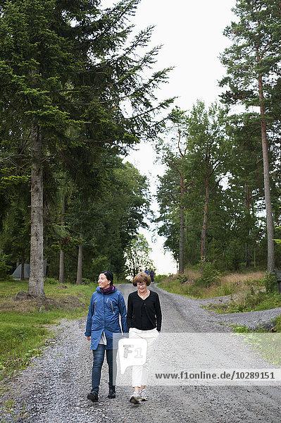 Sweden  Ostergotland  Vikbolandet  two women walking in forest