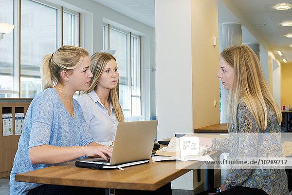 Schweden  Vastra Gotaland  Göteborg  School of Business  Economics and Law  Junge Frauen mit Laptop