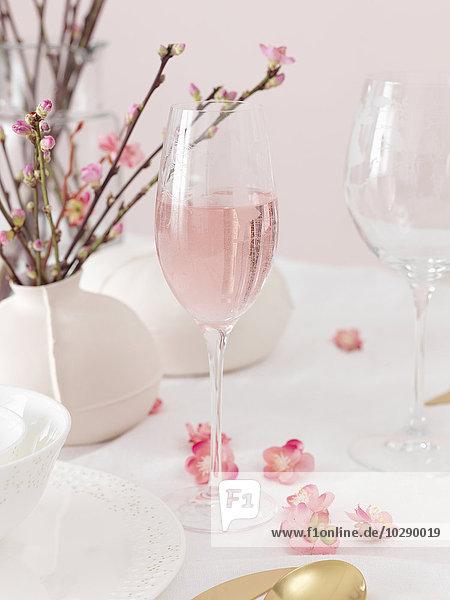 Schweden  Vastergotland  Tisch geschmückt in weiß und rosa