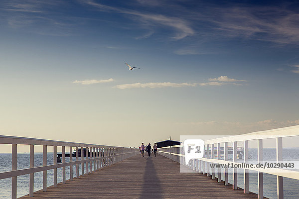 Schweden  Skane  Malmö  Ribergsborg  Frauen  die auf dem Pier laufen