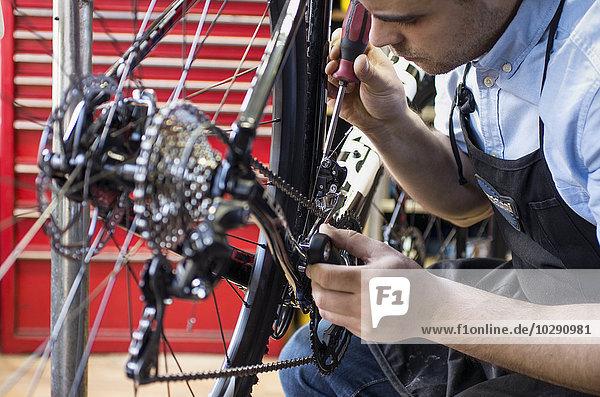 Finland  Pohjanmaa  Pietarsaari  Close-up of man repairing bicycle