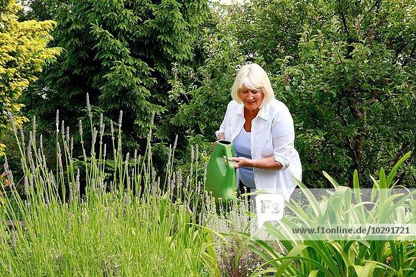 Seniorin Wasserpflanzen im Garten mit Gießkanne