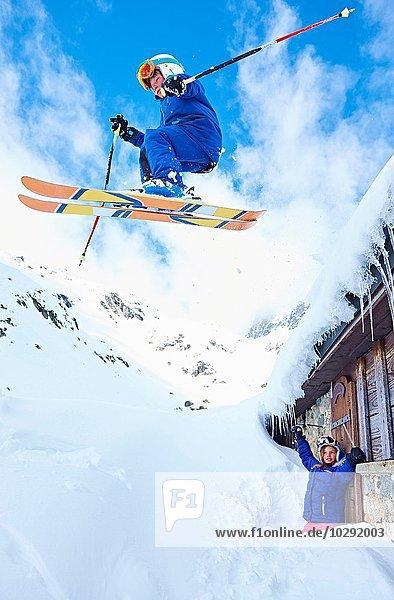 Boy skiing  Chamonix  France