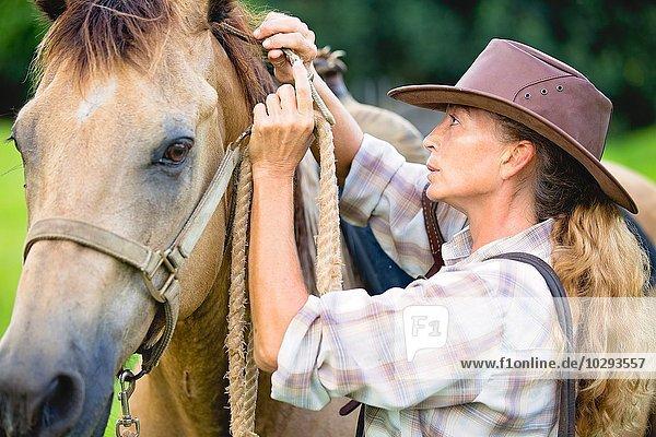 Reife Frau  die Pferde sichert  regiert