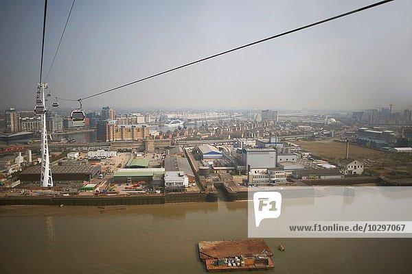 High Angle View Docklands und Seilbahn  London  England  UK