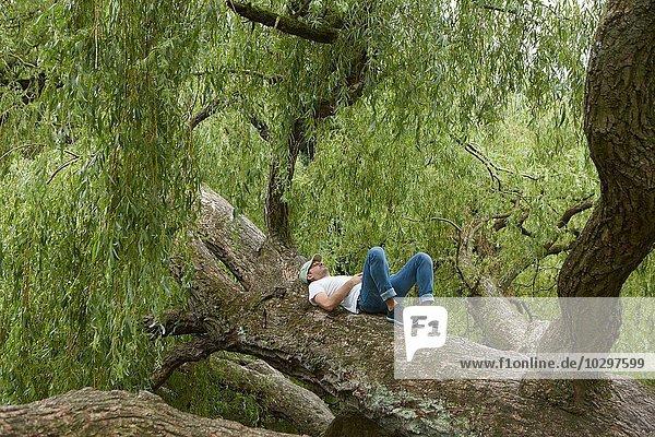 Mann entspannt auf Baumstamm