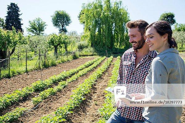 Junges Paar steht im Gemüsegarten und hält eine digitale Tablette lächelnd. Junges Paar steht im Gemüsegarten und hält eine digitale Tablette lächelnd.