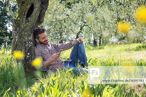 Junger Mann  der sich mit dem Smartphone an den Baum lehnt und lächelnd nach unten schaut. Junger Mann, der sich mit dem Smartphone an den Baum lehnt und lächelnd nach unten schaut.
