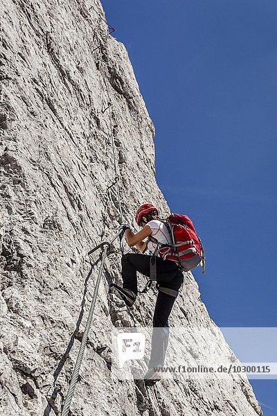Bergsteiger beim Aufstieg über den Imster Klettersteig auf den Maldonkopf in den Lechtaler Alpen  Hochimst  Imst  Tirol  Österreich  Europa