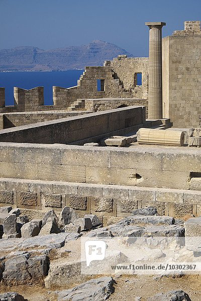 Ruins of Acropolis of Lindos  Lindos  Rhodes Iceland  Dodecanese  Greece  Europe