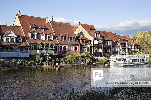 Häuserzeile Klein-Venedig am Ufer der Pegnitz  Bamberg  Oberfranken  Bayern  Deutschland  Europa