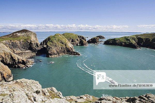 Boot in einer Bucht von Ramsey Island  Pembrokeshire  Wales  Großbritannien  Europa