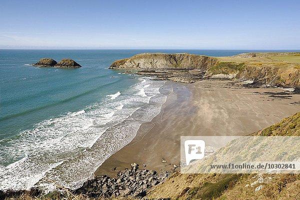 Der Strand Traeth Llyfn Beach bei Ynys Barry  Pembrokeshire  Wales  Großbritannien  Europa