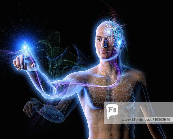 Energie fließt aus Zahnrädern im Gehirn eines Mannes zu seinem Finger
