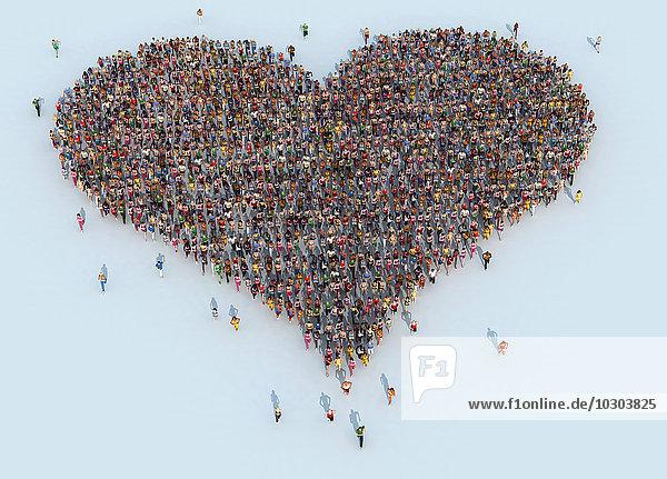 Rennende Menschenmenge bildet eine Herzform Rennende Menschenmenge bildet eine Herzform