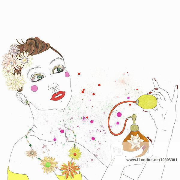 Frau sprüht Parfüm aus dem Zerstäuber
