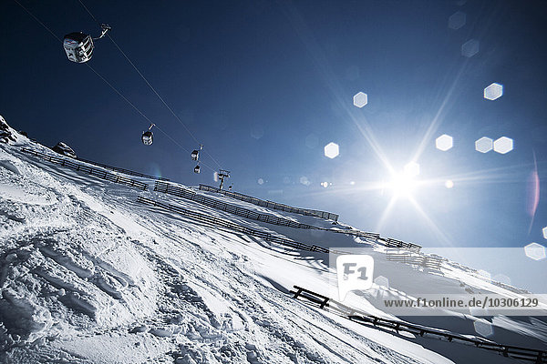 Austria  Tyrol  Ischgl  avalanche protection and cable car in winter landscape