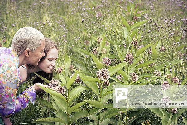 Eine reife Frau und ein junges Mädchen auf einer Wildblumenwiese  die sich die Blumen genau anschauen.