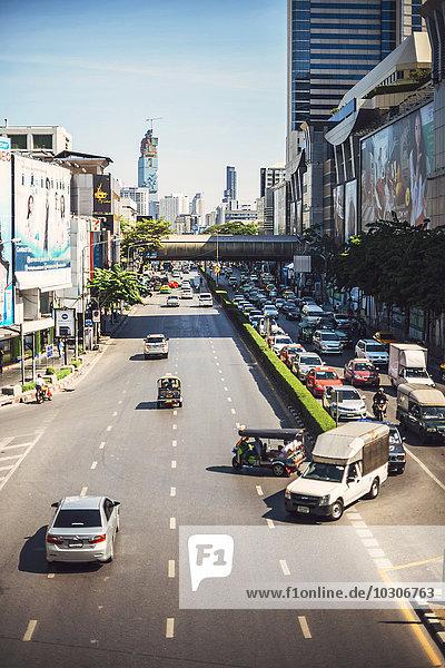 Thailand  Bangkok  traffic jam in a main avenue