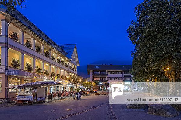 Germany  Bavaria  Oberstdorf  market square at blue hour