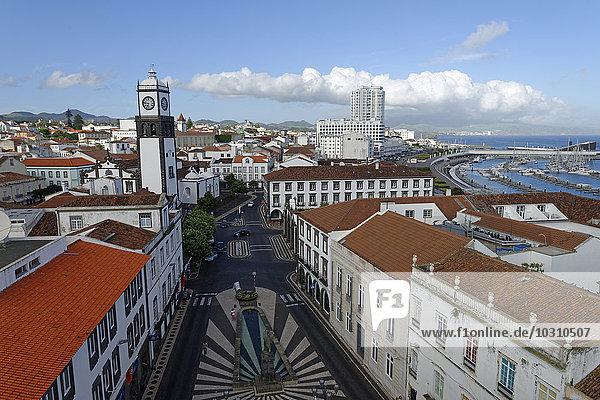Portugal  Azores  Sao Miguel  Old town  View to Church Igreja Matriz de Sebastiao