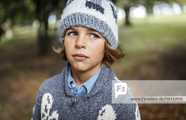 Portrait of boy wearing autumn fashion
