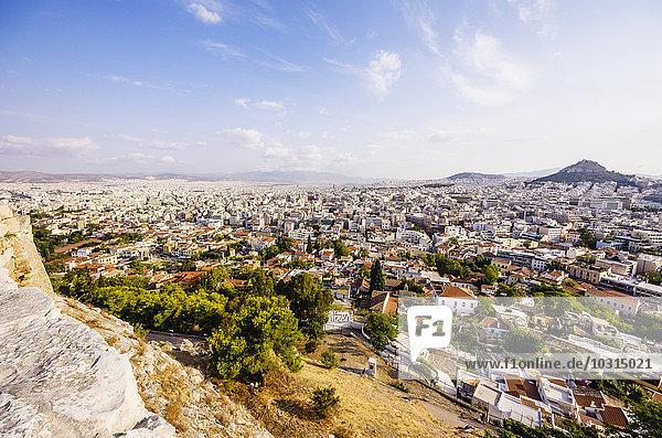 Griechenland  Athen  Stadtbild mit dem Berg Lycabettus