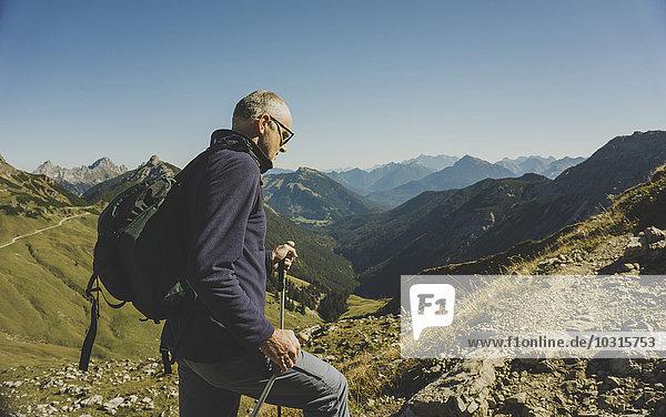 Austria  Tyrol  Tannheimer Tal  mature man hiking