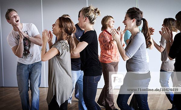 Photo essay at a laughter club in France  conducted by a laughter trainer/sophrologist.