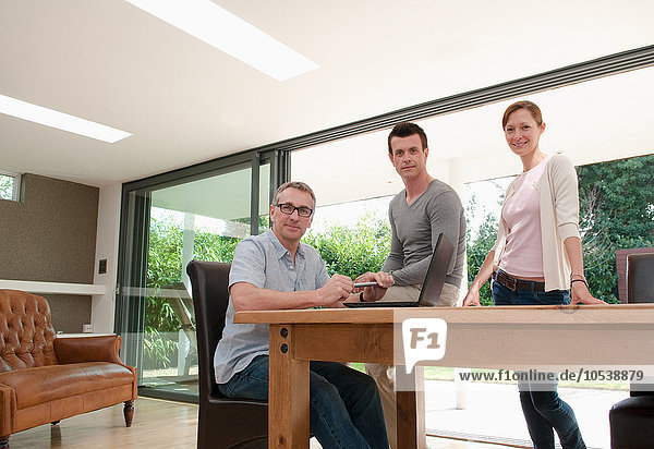 Drei Geschäftsleute im Home Office  Porträt
