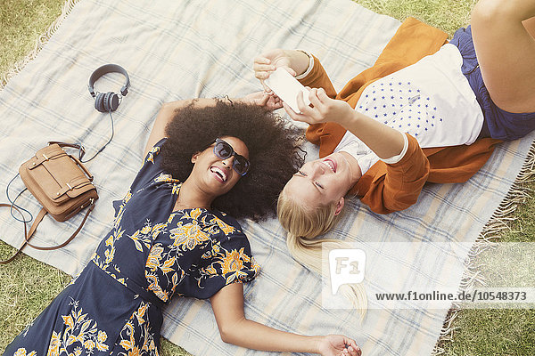 Freunde  die sich auf einer Decke im Gras entspannen.
