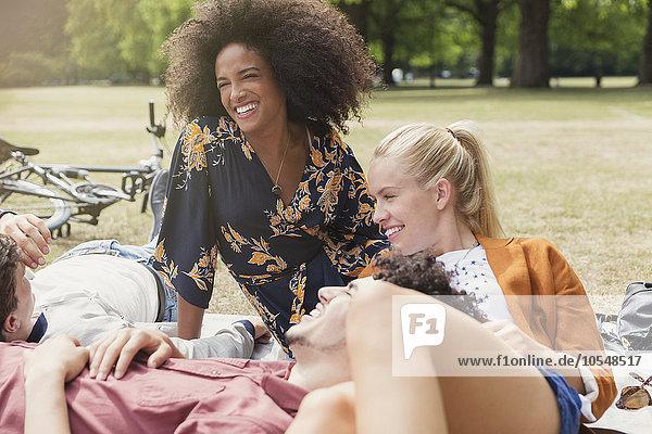 Freunde  die sich im Park entspannen.