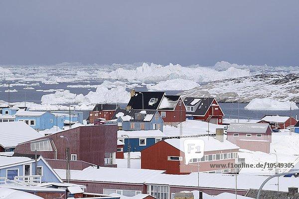 Bunte Häuser vor treibenden Eisbergen in der Diskobucht  Ilulisaat  Grönland  Nordamerika