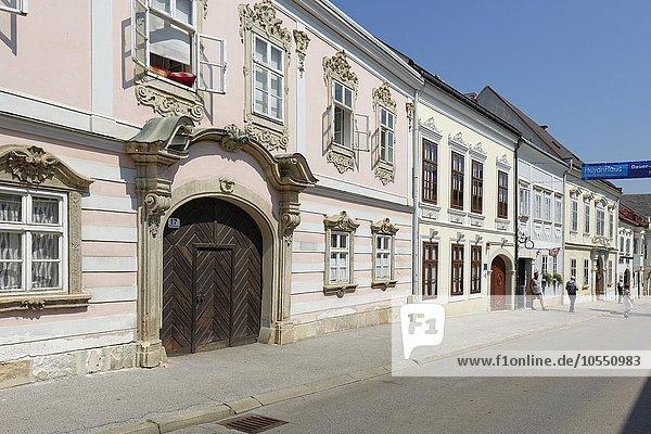 Straßenzug mit Haydn-Haus in Joseph-Haydn-Gasse  Altstadt  Eisenstadt  Burgenland  Österreich  Europa
