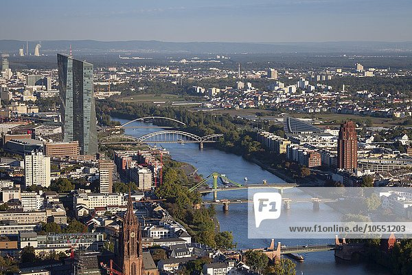 New European Central Bank  ECB  cityscape  view from the Main Tower  Frankfurt  Hesse  Germany  Europe