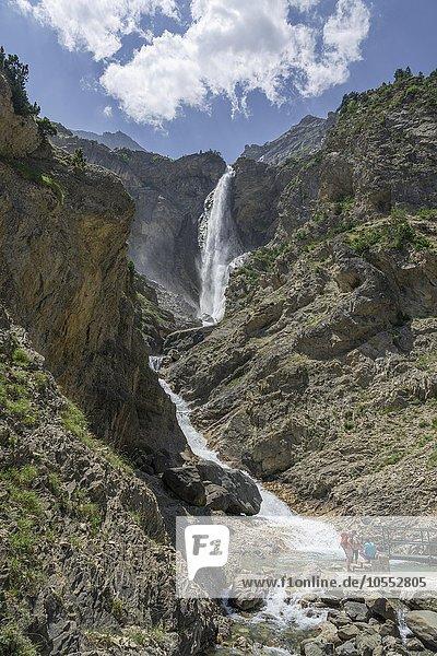 Wasserfall Cascada de Marboré  Valle de Pineto  Aragón  Spanien  Europa