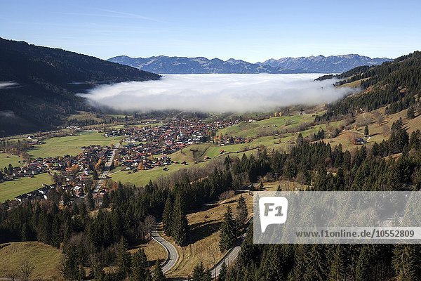 View of Ostrach Valley  Bad Hindelang in fog  Allgäu  Bavaria  Germany  Europe