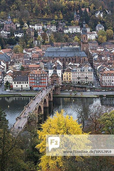 Ausblick vom Philsophenweg auf Neckar  Alte Brücke  auch Carl-Theodor-Brücke und Altstadt mit Heiliggeistkirche im Herbst  Heidelberg  Baden- Württemberg  Deutschland  Europa
