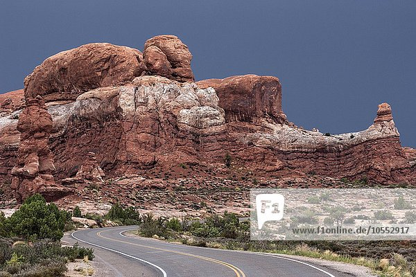 kurvige Straße  Arches Scenic Drive  hinten Rock Pinnacles  Gewitterstimmung  Gewitterwolken  Arches National Park  Utah  USA  Nordamerika