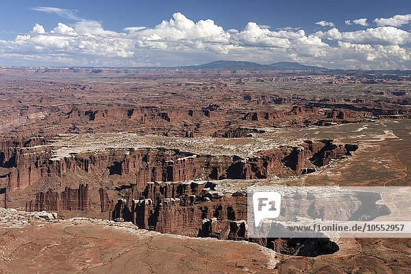Ausblick vom Grand View Point Overlook auf Erosionslandschaft  Felsformationen  Monument Basin  White Rim  Island in the Sky  Canyonlands-Nationalpark  Utah  USA  Nordamerika
